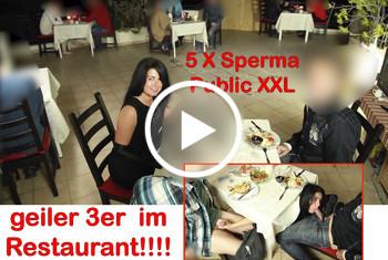 Alexandra-Wett: Public XXL! After Work Fuck im Restaurant 2 Schwänze, 5x gespritzt.