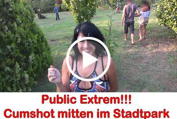 Alexandra-Wett: Public extrem! Cum-Shot mitten im Stadtpark.