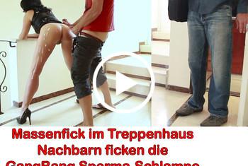 Alexandra-Wett: Nach Sperma-Schlacht, Massenfick im Treppenhaus. Von Nachbarn erwischt