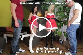 AnnabelMassina: 4er Orgie Arsch, Fotzenfick, Spermaküsse, Lesbenküsse,  Hardcore Ficken PUR mit den Stiefelschlamp