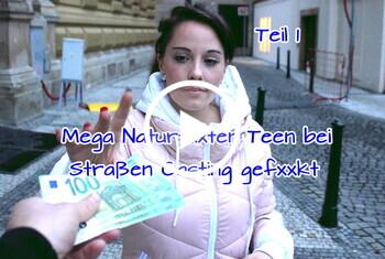 German-Scout: Mega Naturtitten Teen bei Straßen Casting gefickt Teil 1