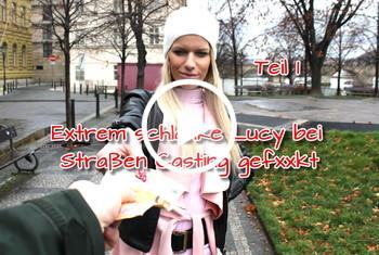 German-Scout: Extrem schlanke Lucy bei Straßen Casting gefickt Teil 1