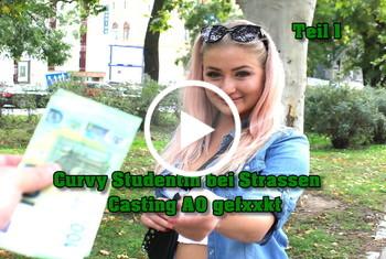 German-Scout: Curvy Studentin bei Strassen Casting AO gefickt Teil 1