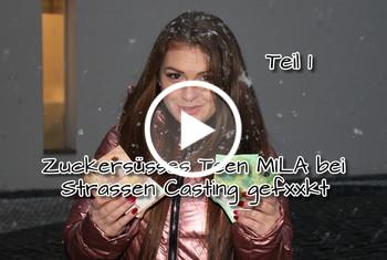 German-Scout: Zuckersüsses Teen Mila bei Strassen Casting gefickt Teil 1