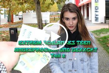 German-Scout: Extrem schlankes Teen angesprochen und gefickt Teil 2