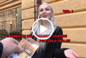 German-Scout: Studentin bei Strassen Casting für Geld gefickt Teil 1