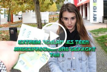 German-Scout: Extrem schlankes Teen angesprochen und gefickt Teil 1