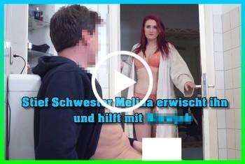 German-Scout: Stief Schwester Melina erwischt ihn und hilft mit Blowjob