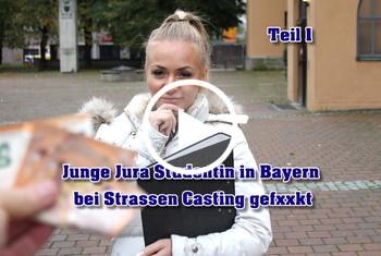 German-Scout: Junge Jura Studentin in Bayern bei Strassen Casting gefickt Teil 1