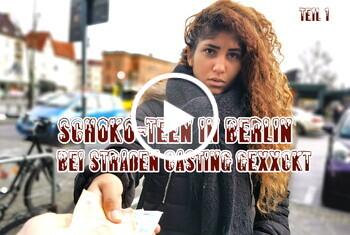 German-Scout: Schoko-Teen in Berlin bei Straßen Casting gefickt Teil 1