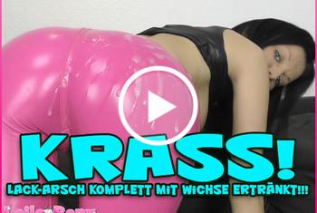 Laila-Banx: Krass! Lack-Arsch komplett mit Wichse ertränkt!!!
