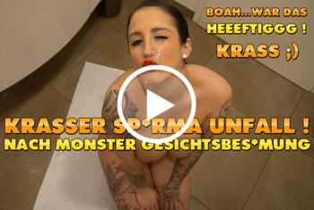 QueenParis: Krasser Sperma Unfall ! Nach Monster Gesichtsbesamung !!!